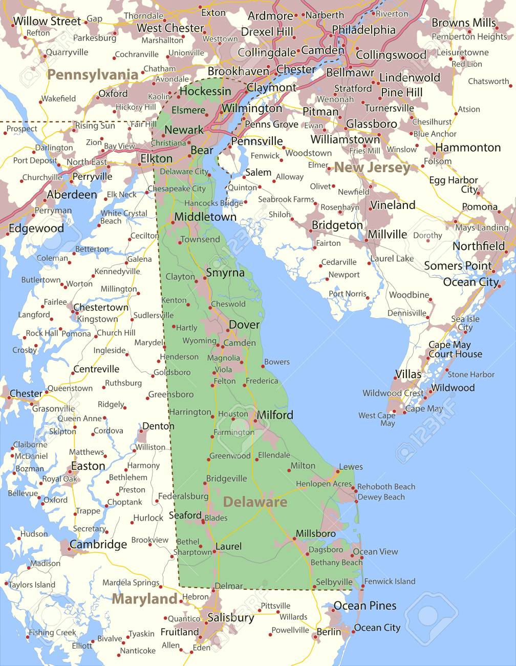 Map Of Delaware. Shows State Borders, Urban Areas, Place Names ...