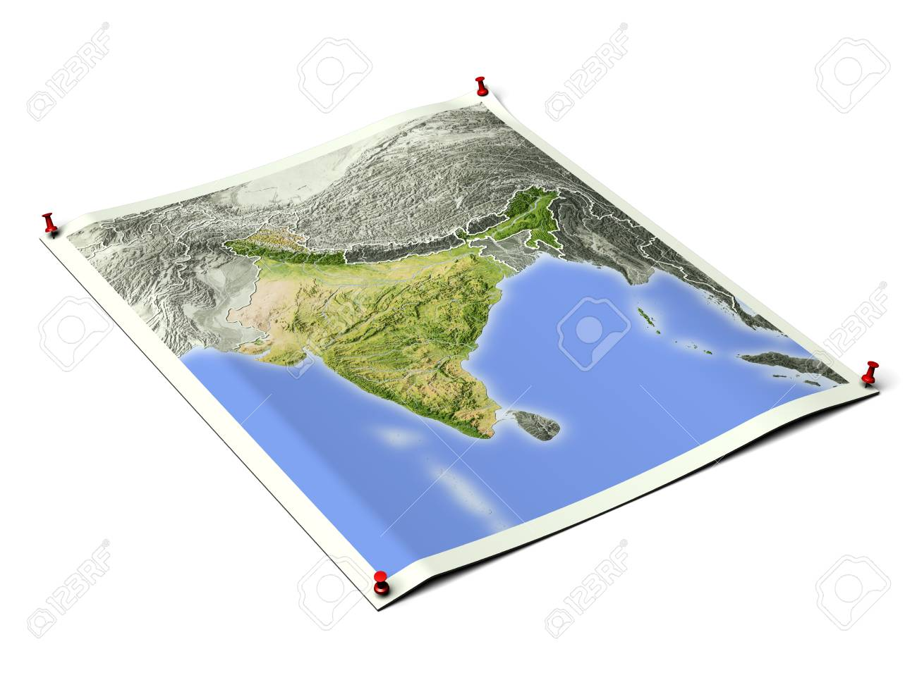 India on unfolded map sheet with thumbtacks.Map colored according to vegetation, with borders.Includes clip path for the background. Map projection: Mercator ; Geographic extents: W: 65; E: 100; S: 0; N: 40 - 93779012