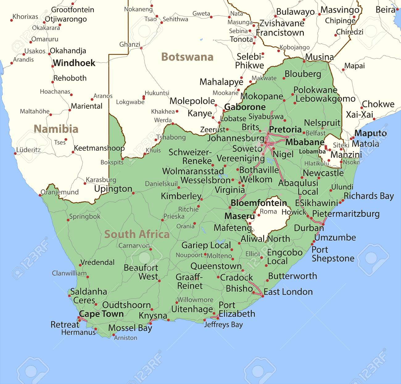 Map Of South Africa. Shows Country Borders, Urban Areas, Place