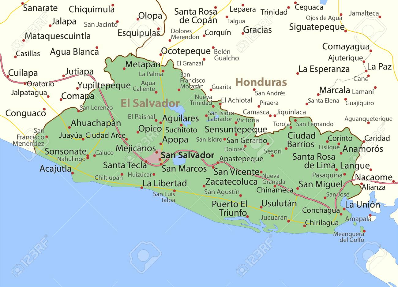 Map of El Salvador. Shows country borders, urban areas, place.. San Salvador Map on ahuachapan map, costa rica map, tenochtitlan on map, caribbean map, bahamas map, guatemala map, uruguay map, colombia map, kingston map, chalatenango map, managua map, panama map, tegucigalpa map, havana map, caracas map, honduras map, central america map, santo domingo map, lima map, nassau map,