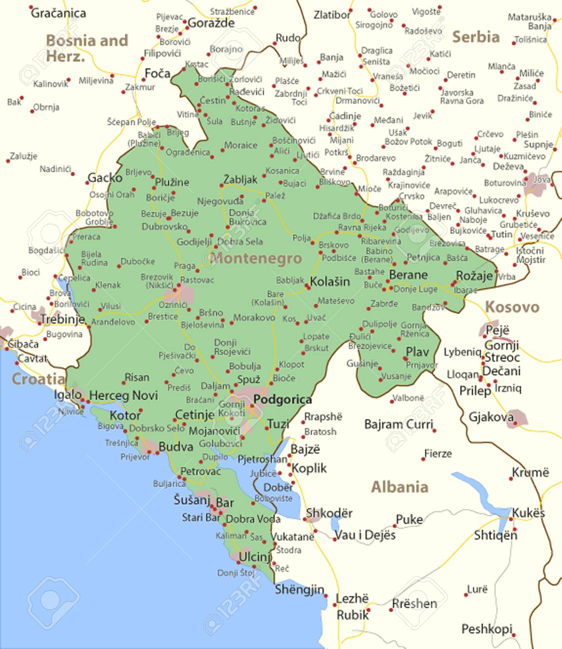 Map Of Montenegro Shows Country Borders Urban Areas Place