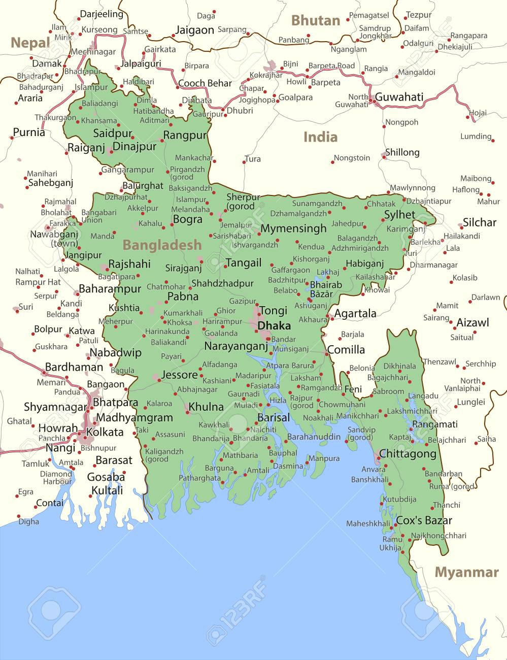 Map of Bangladesh. Shows country borders, urban areas, place..