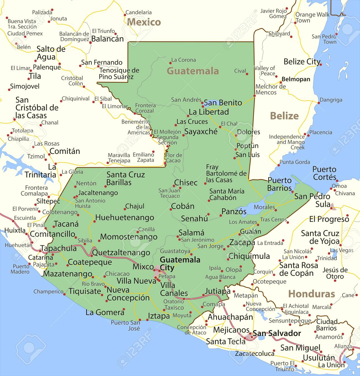 Map of Guatemala. Shows country borders, urban areas, place names..