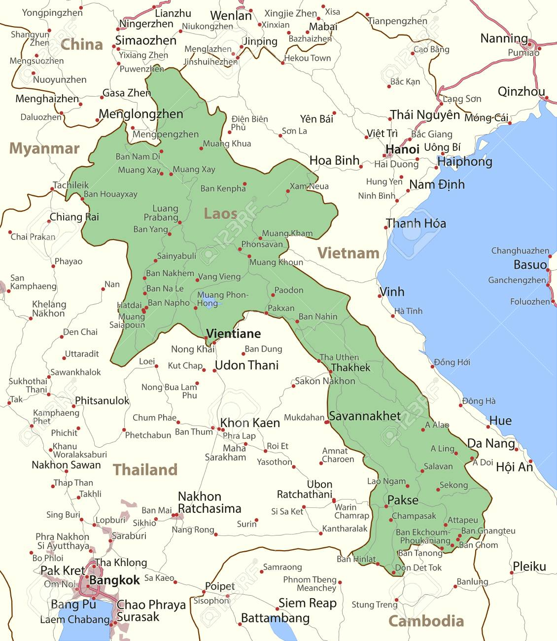 Map Of Laos. Shows Country Borders, Urban Areas, Place Names ...