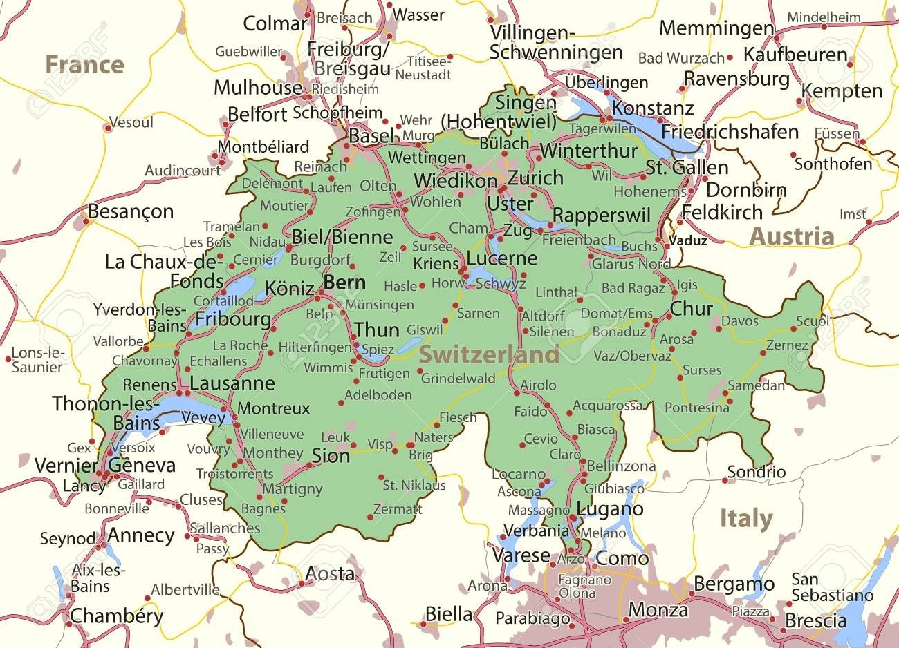 Map Of Switzerland. Shows Country Borders, Urban Areas, Place ...