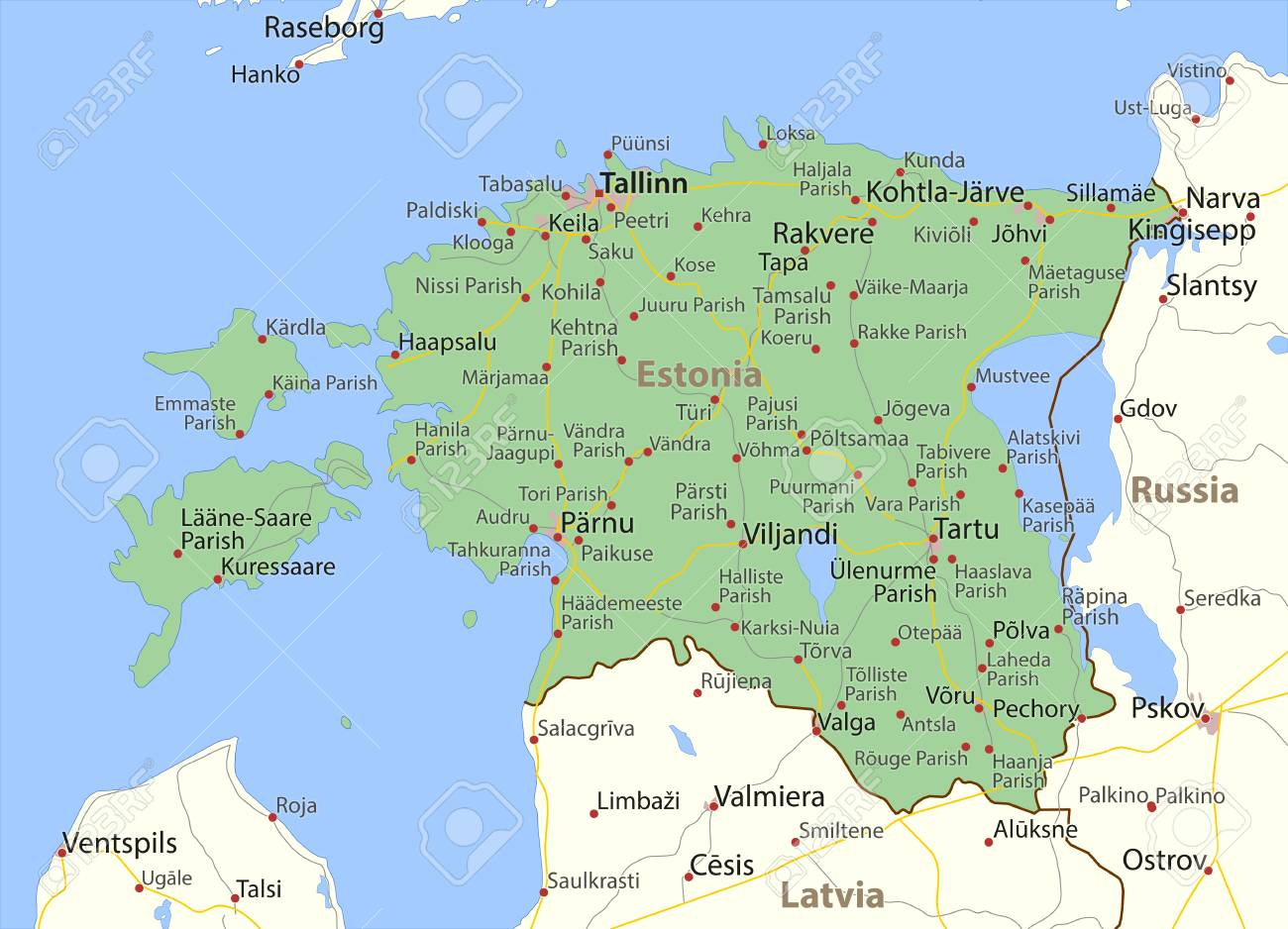 Map of Estonia. Shows country borders, urban areas, place names..