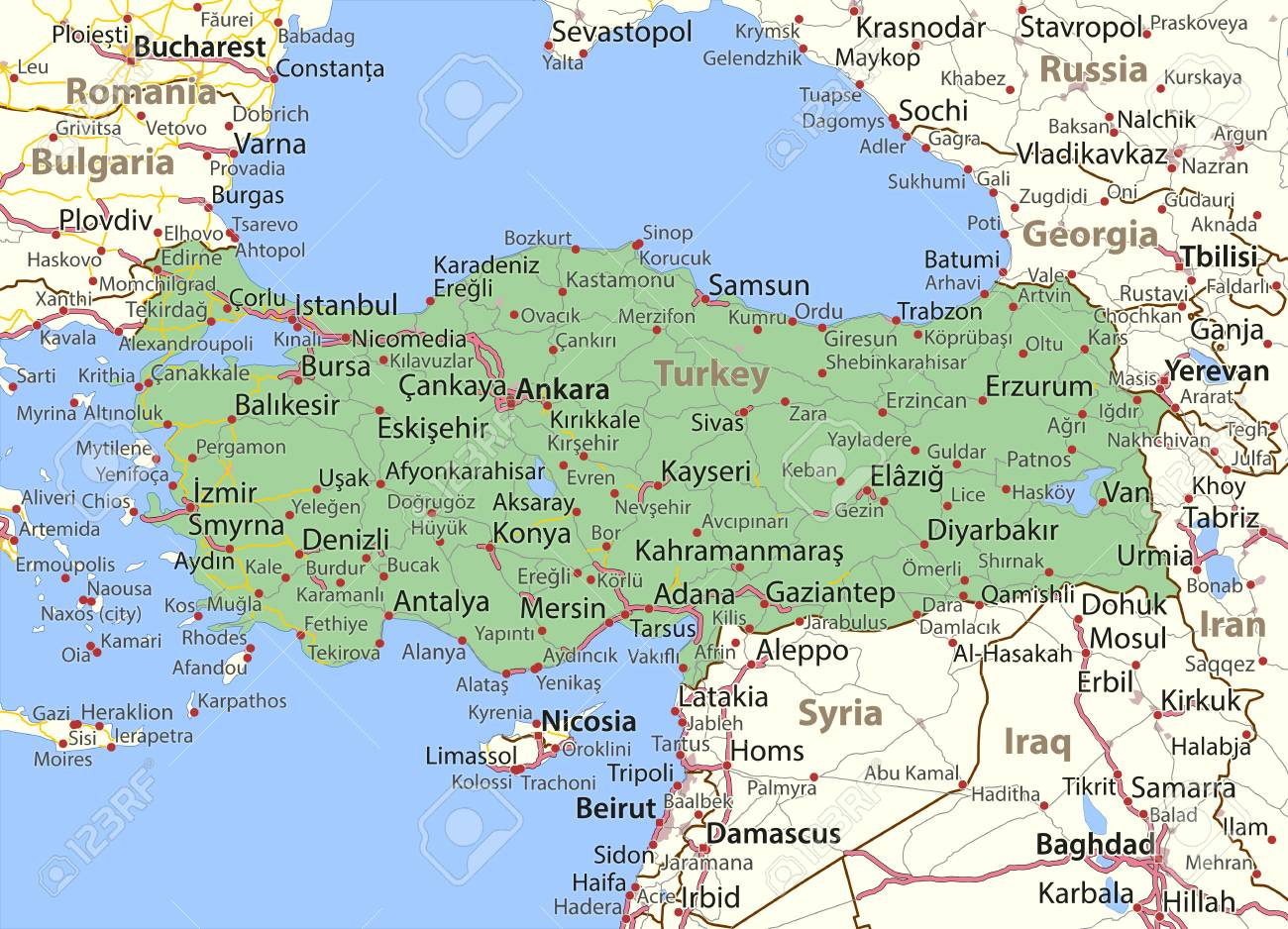 Map of Turkey. Shows country borders, urban areas, place names.. Map In Turkey on uzbekistan in map, cook islands in map, south sudan in map, easter islands in map, jordan in map, bahrain in map, troy in map, mauritania in map, togo in map, czech republic in map, cappadocia in map, antioch in map, andorra in map, luxembourg in map, turkmenistan in map, brunei in map, saudi arabia in map, saint lucia in map, djibouti in map, fertile crescent in map,