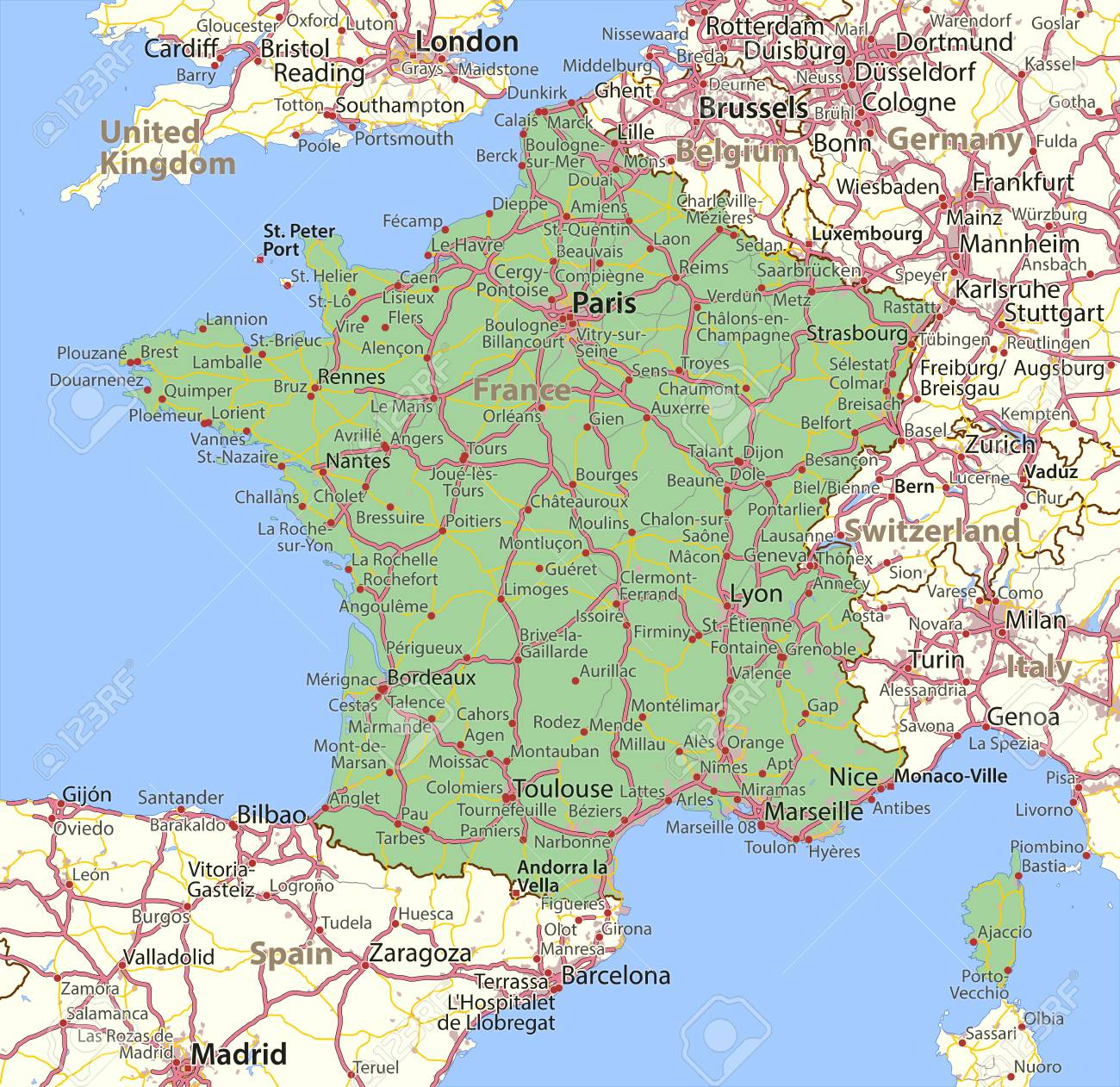 Map of france shows country borders urban areas place names map of france shows country borders urban areas place names and roads gumiabroncs Choice Image