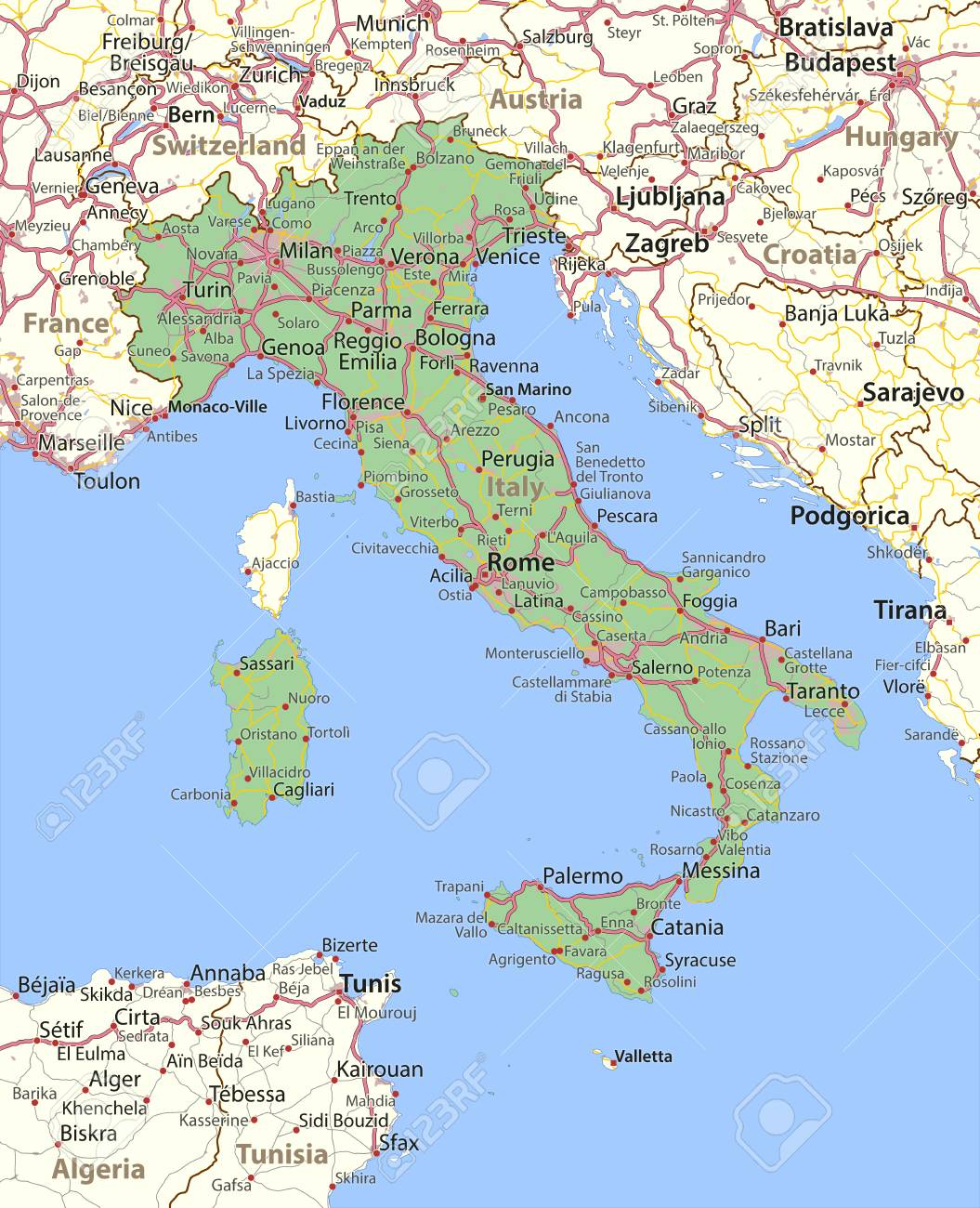 Map of Italy. Shows country borders, urban areas, place names..