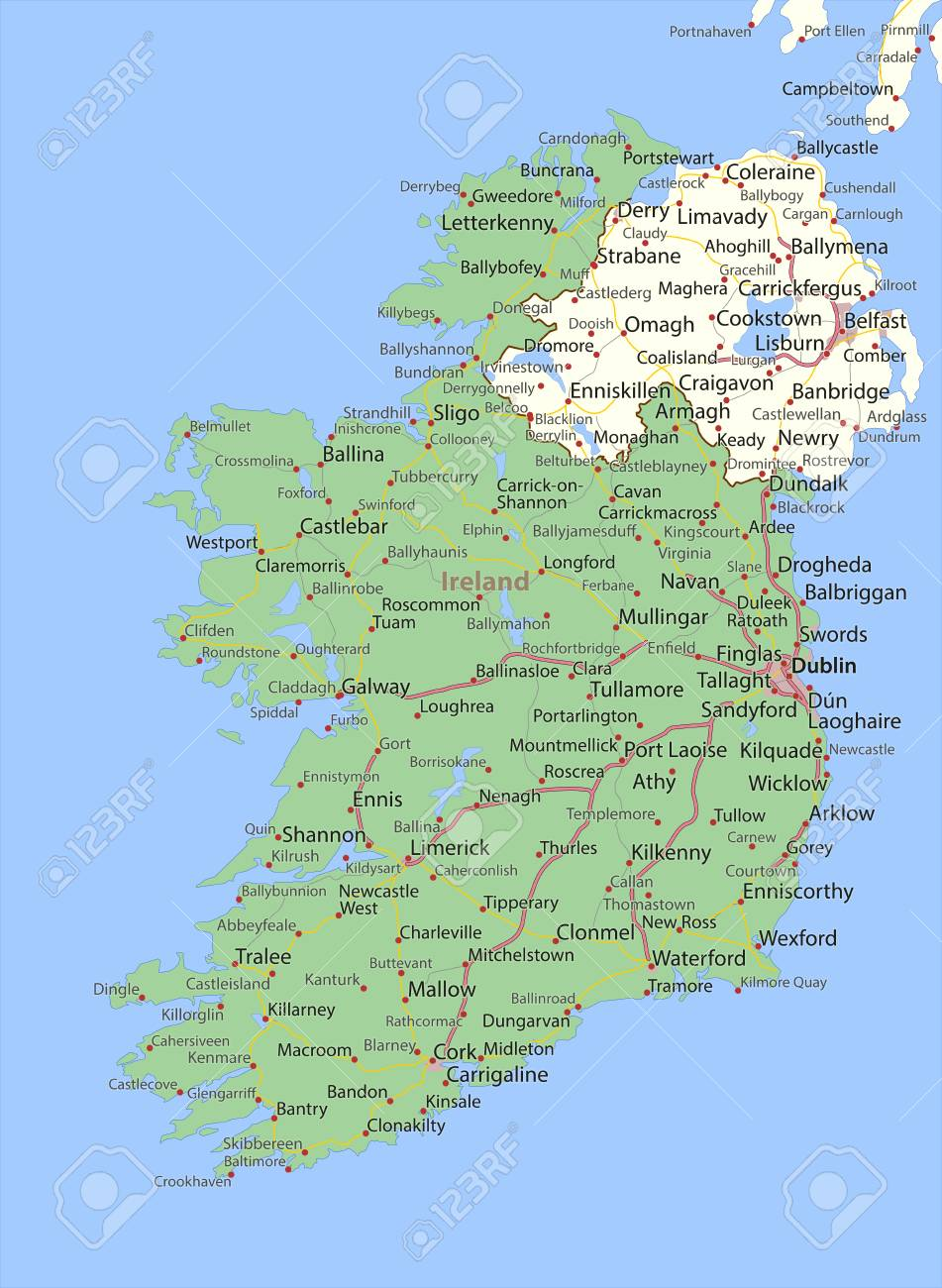 Country Of Ireland Map.Map Of Ireland Shows Country Borders Urban Areas Place Names