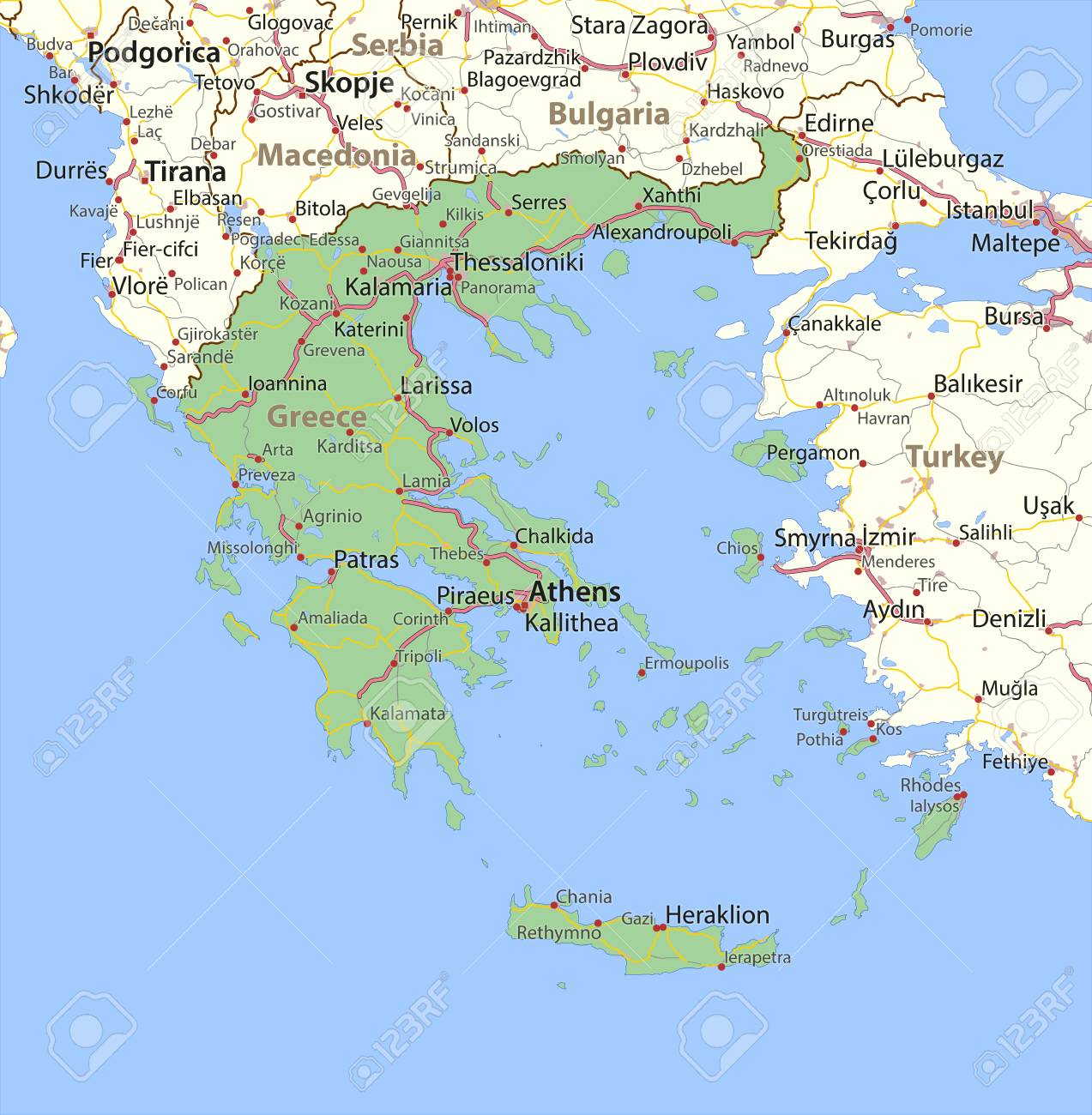 Country Of Greece Map.Map Of Greece Shows Country Borders Urban Areas Place Names