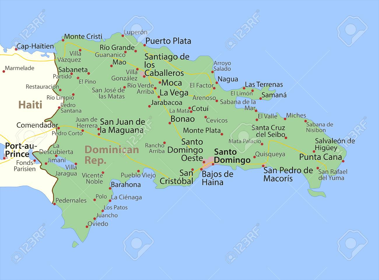 Map of Dominican Republic. Shows country borders, urban areas,..