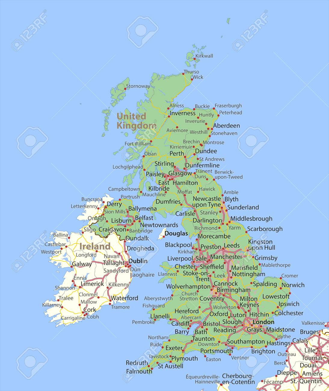 Map of the United Kingdom  Shows country borders, urban areas,