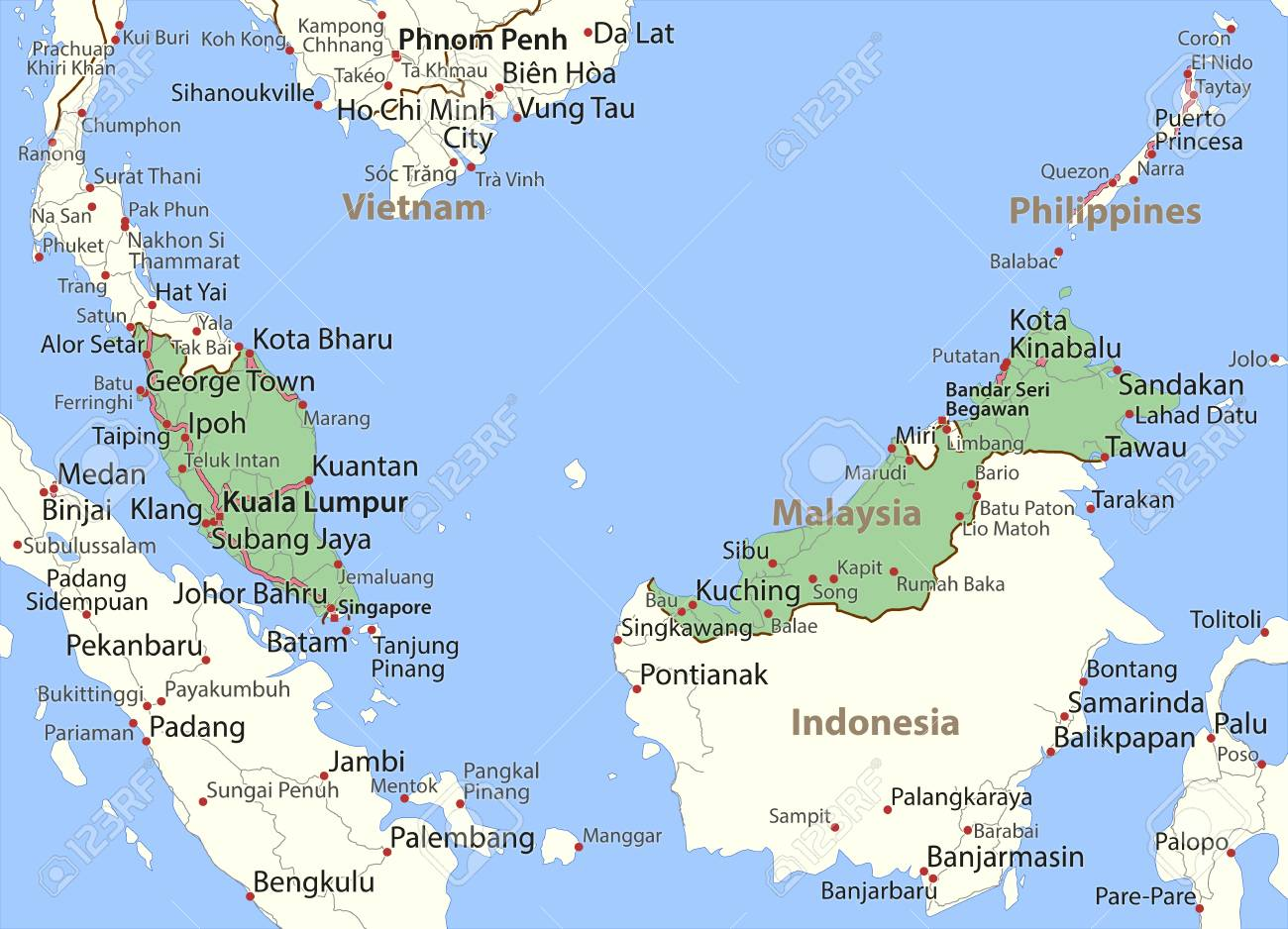 Map of Malaysia  Shows country borders, place names and roads