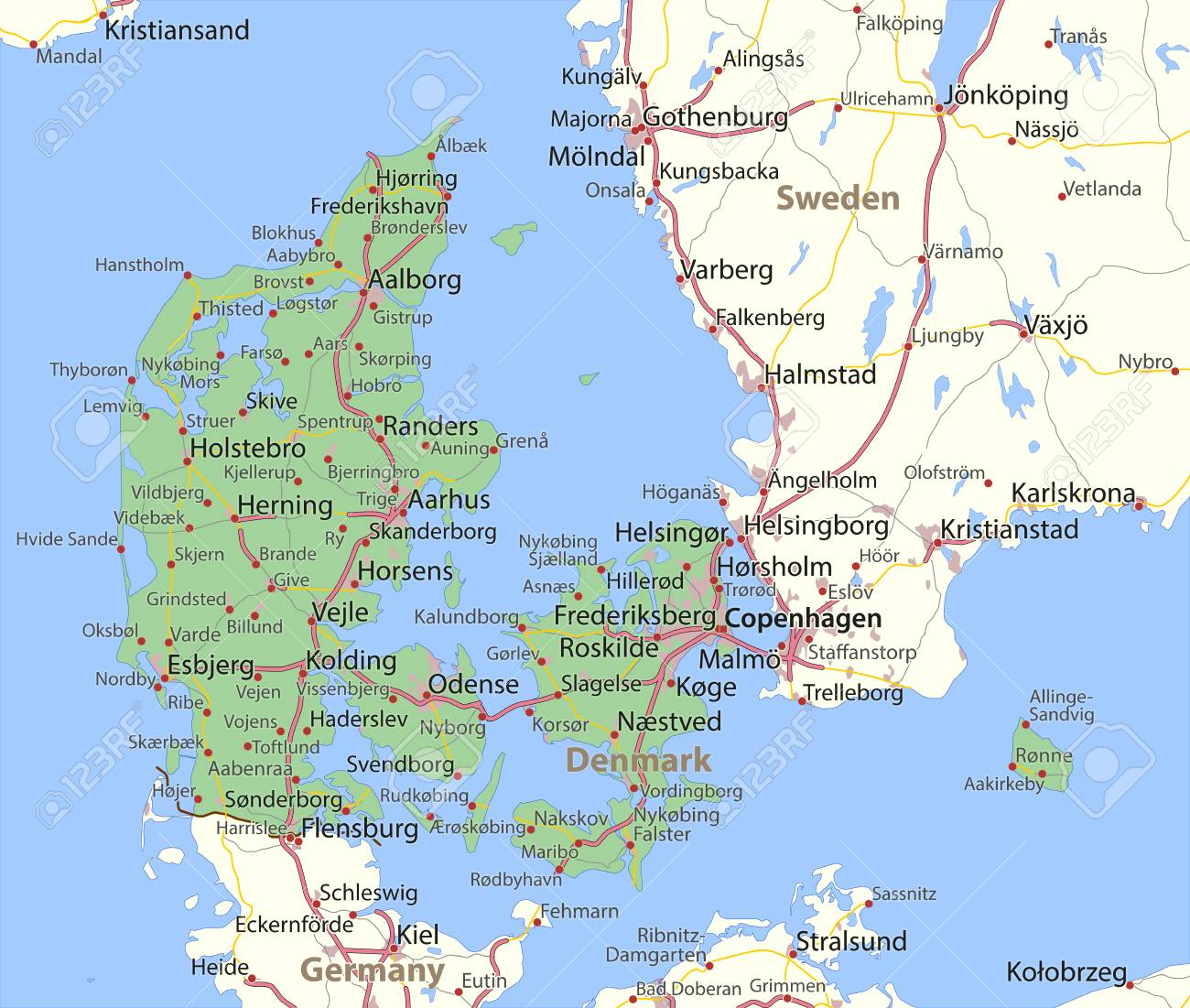 Map of Denmark. Shows country borders, urban areas, place names..