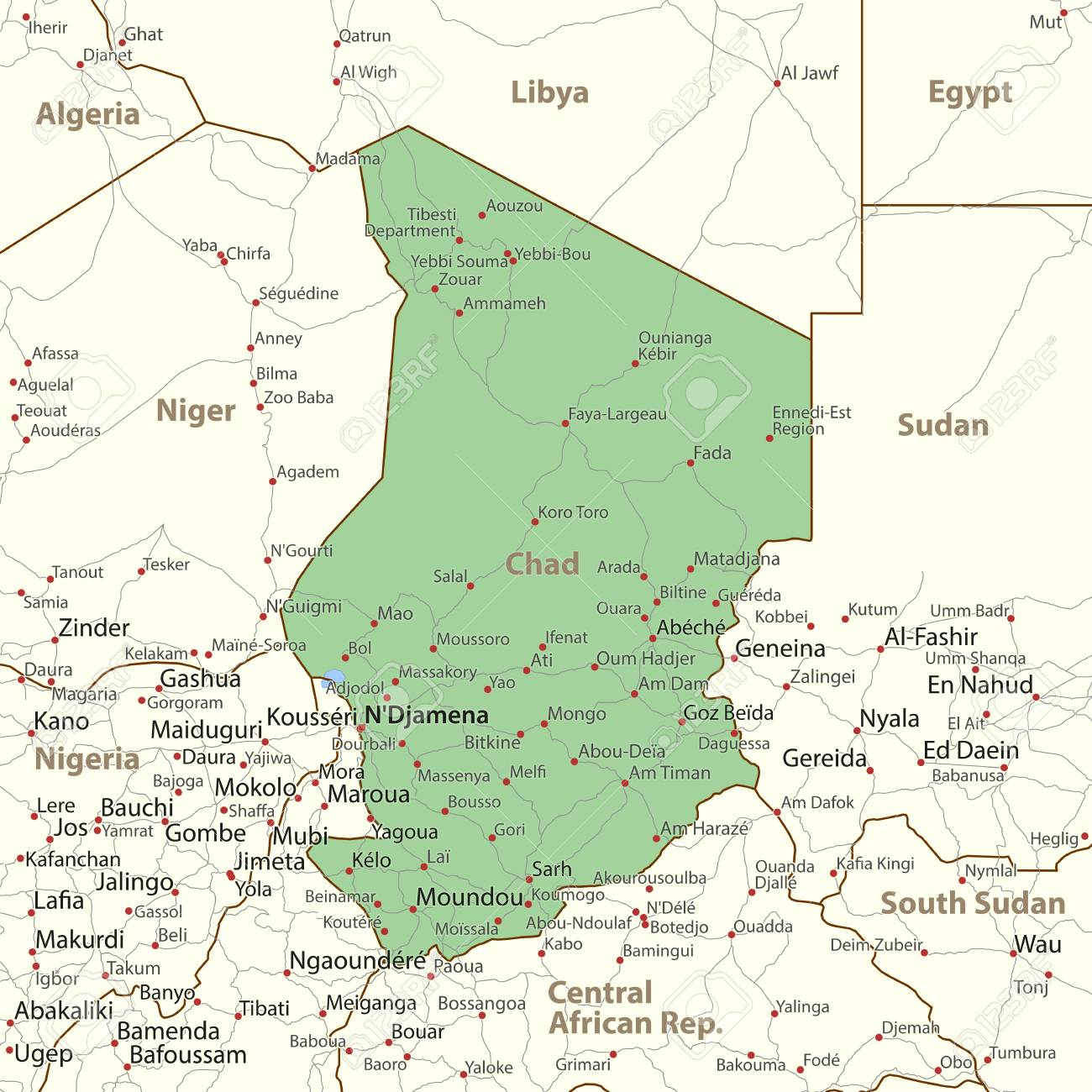 Map Of Chad. Shows Country Borders, Urban Areas, Place Names ...