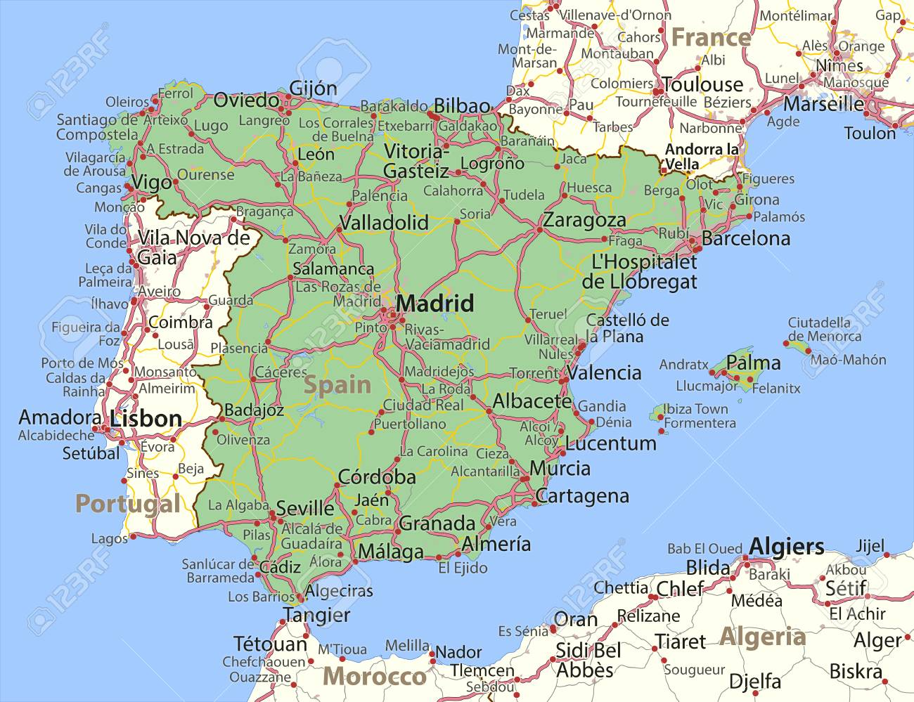 Country Of Spain Map.Map Of Spain Shows Country Borders Urban Areas Place Names