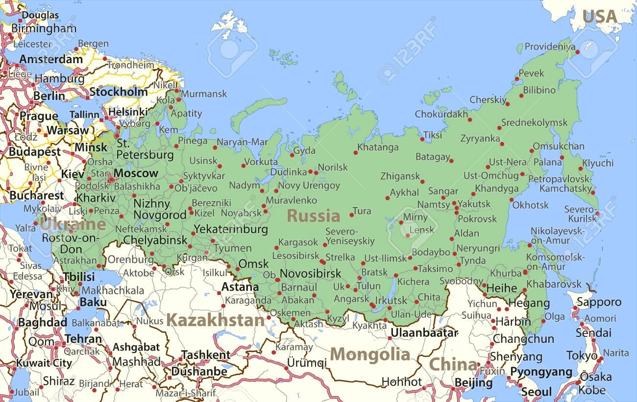 Mapa De Rusia Muestra Las Fronteras Del Pais Nombres De Lugares