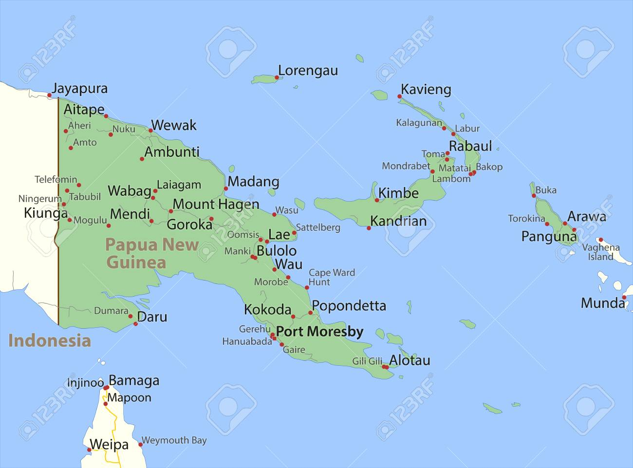 Map of Papua New Guinea  Shows country borders, urban areas,