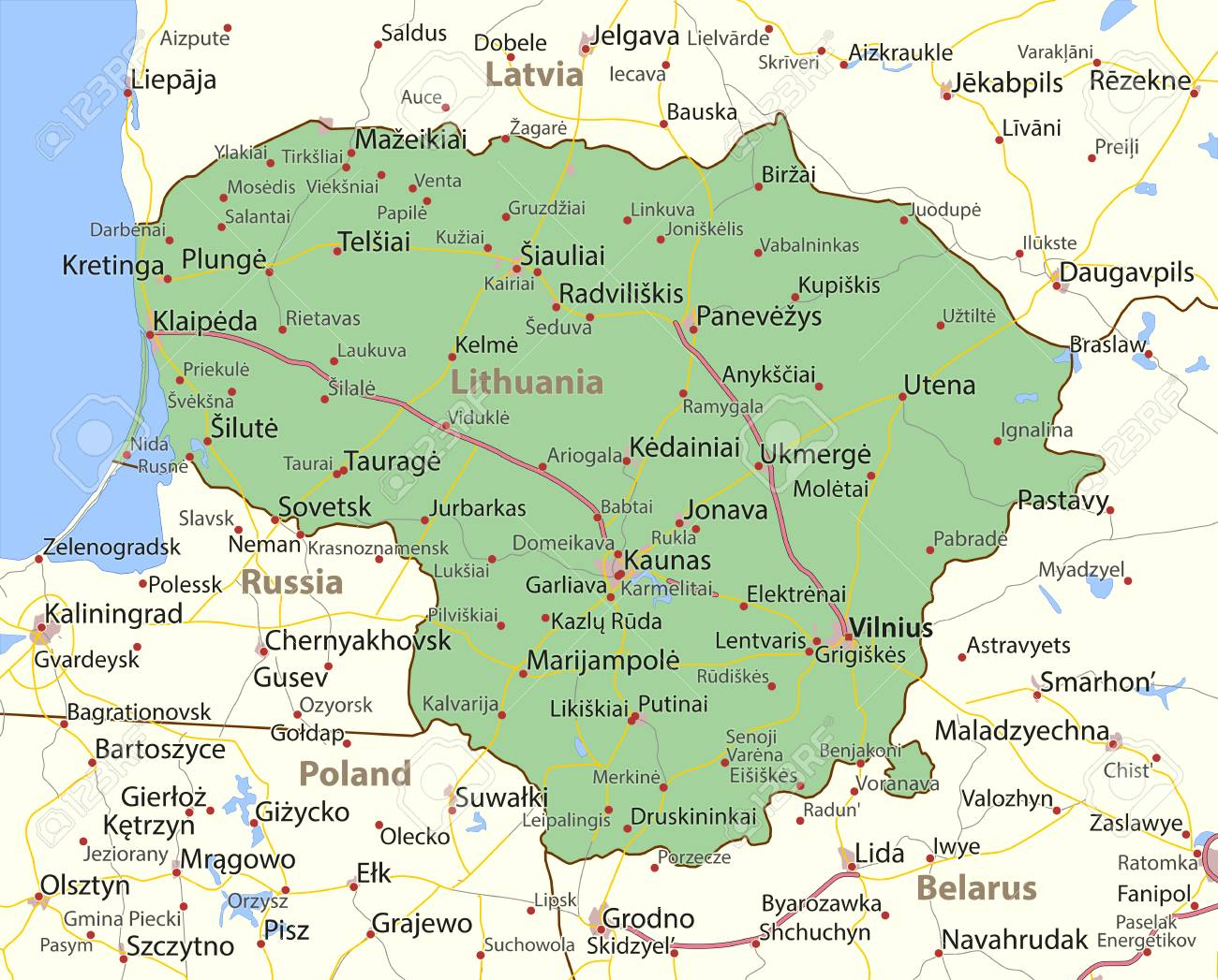 Map of Lithuania. Shows country borders, urban areas, place names and roads. - 95685420