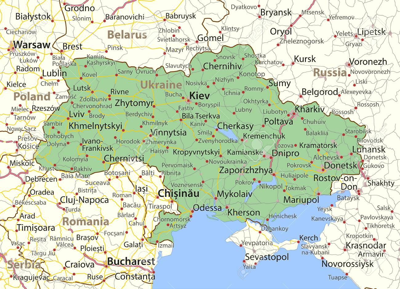 Map of Ukraine. Shows country borders, urban areas, place names..