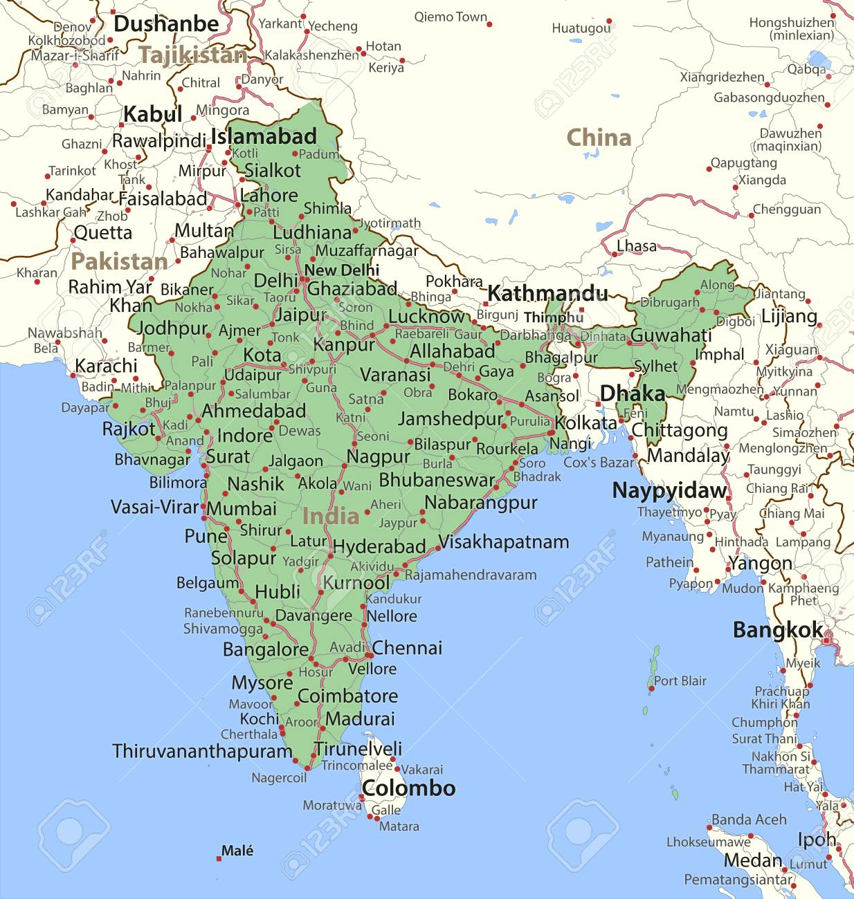Map of India. Shows country borders, urban areas, place names..