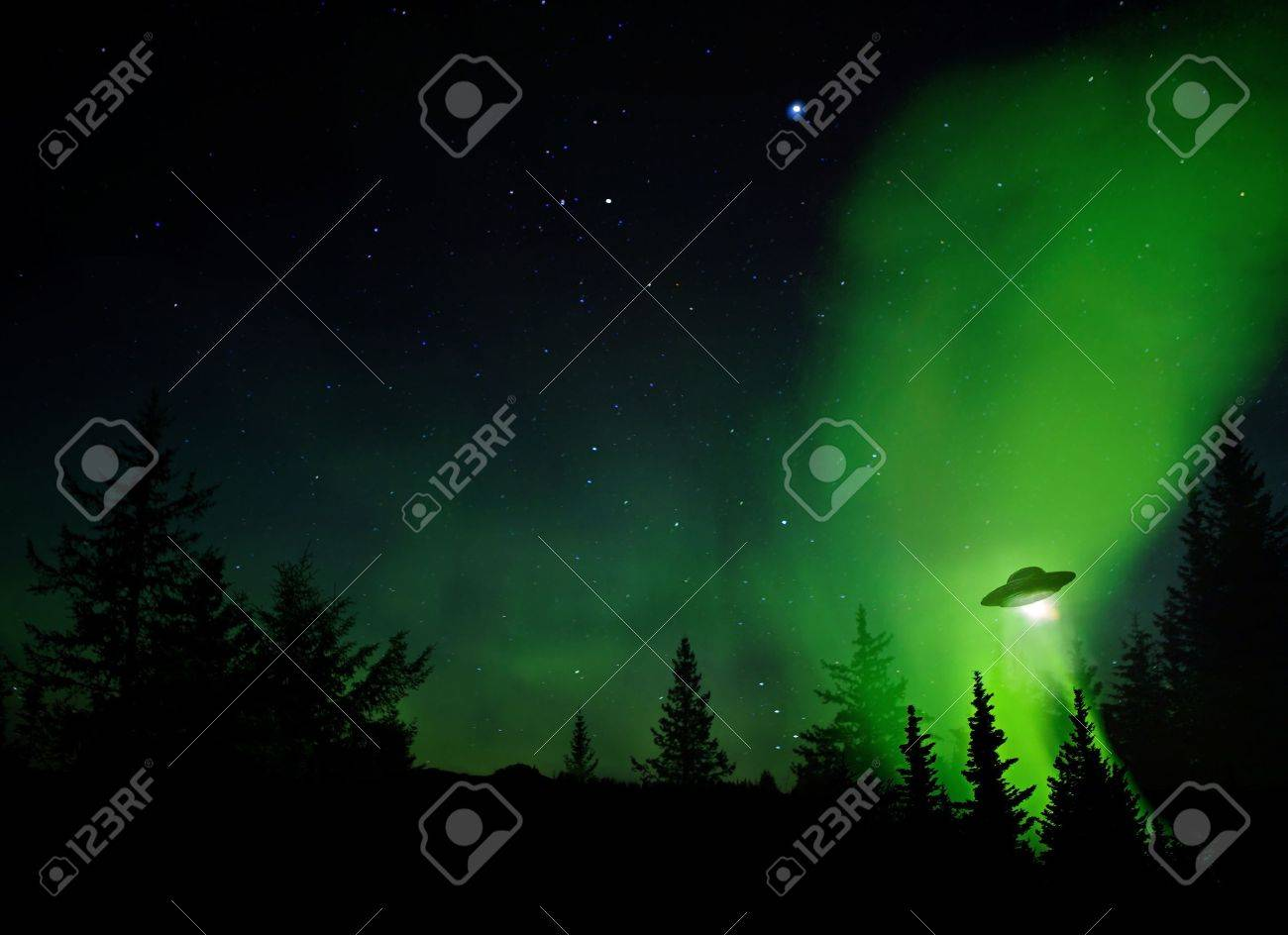 UFO landing at night in the forest with trees and stars. Stock Photo - 15847361