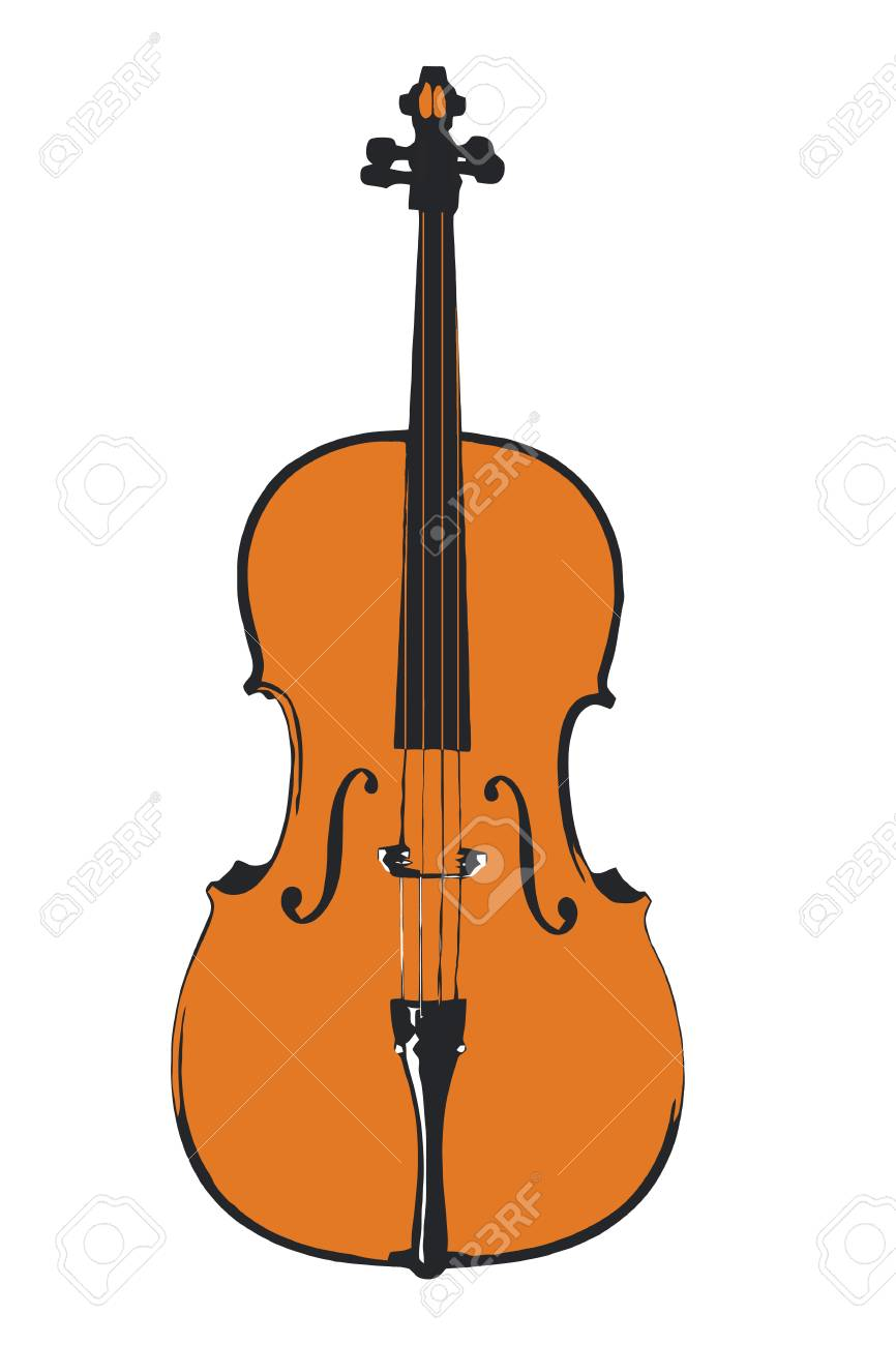 Simple Cello Illustration In Three Colors Vector And Jpeg Stock
