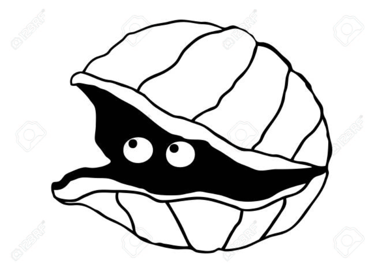 Cute Simple Line Art : Cute illustration of a simple clam with eyes look out the