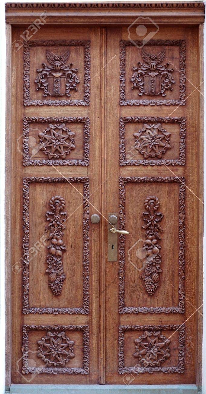 very old wood crafted door in old Tallinn Stock Photo - 625446