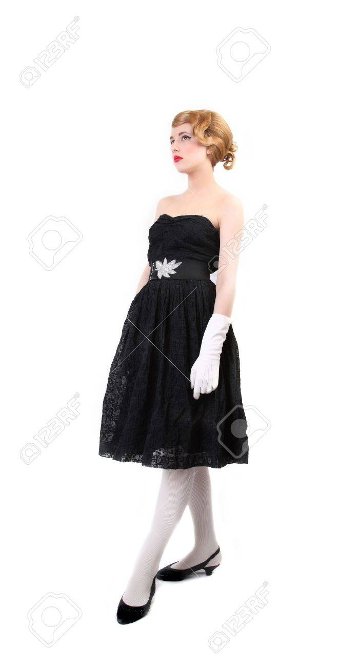 pretty young girl with long hair over whitel dress in style