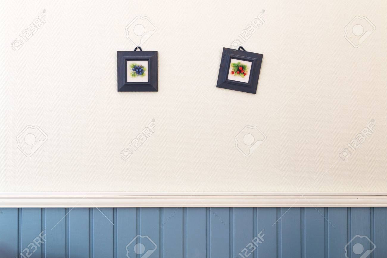 Two Small Square Pictures Of Blueberries And Strawberries In.. Stock ...