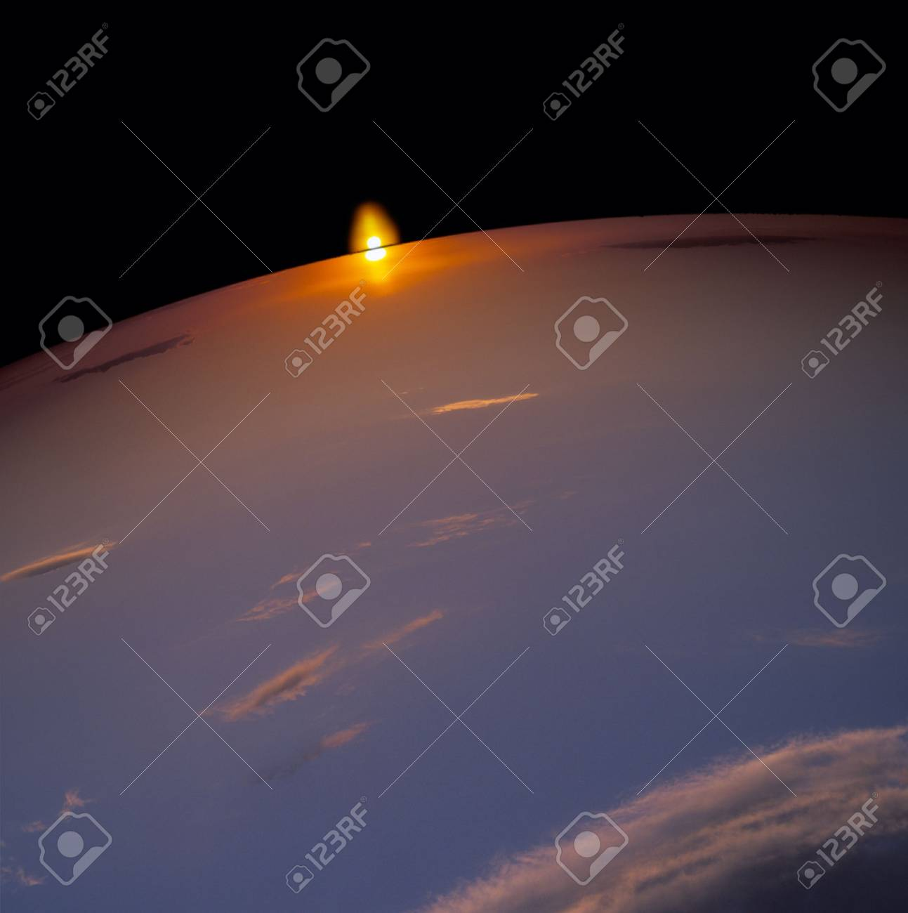 Sunset beyond the planet. Stock Photo - 7857734