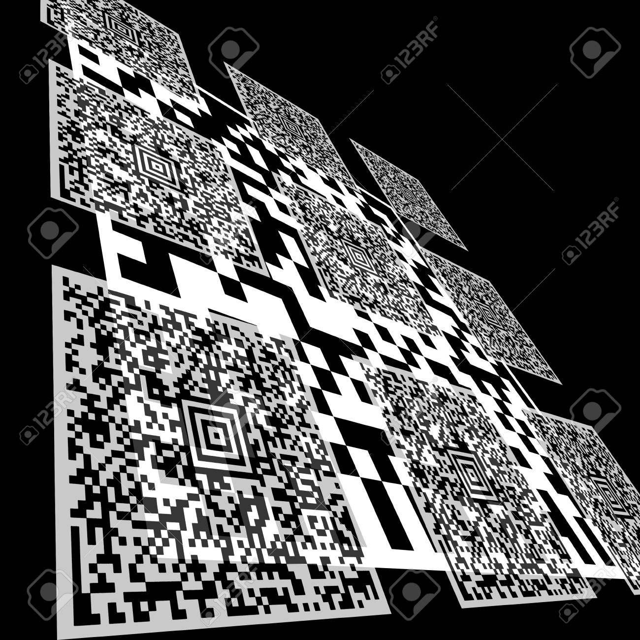 Background composed of Aztec Code and DataMatrix Code barcodes