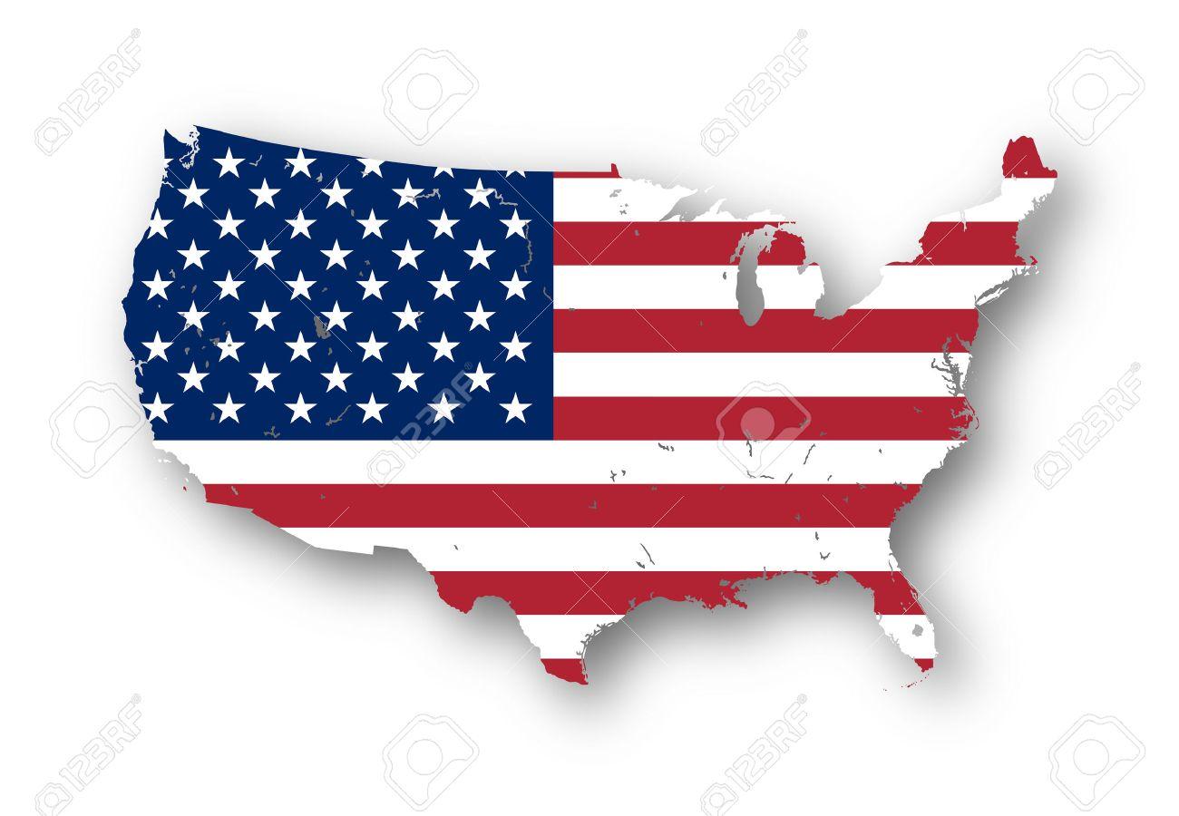 Usa Flag High Resolution Map Of The Usa With American Flag You Can Easily