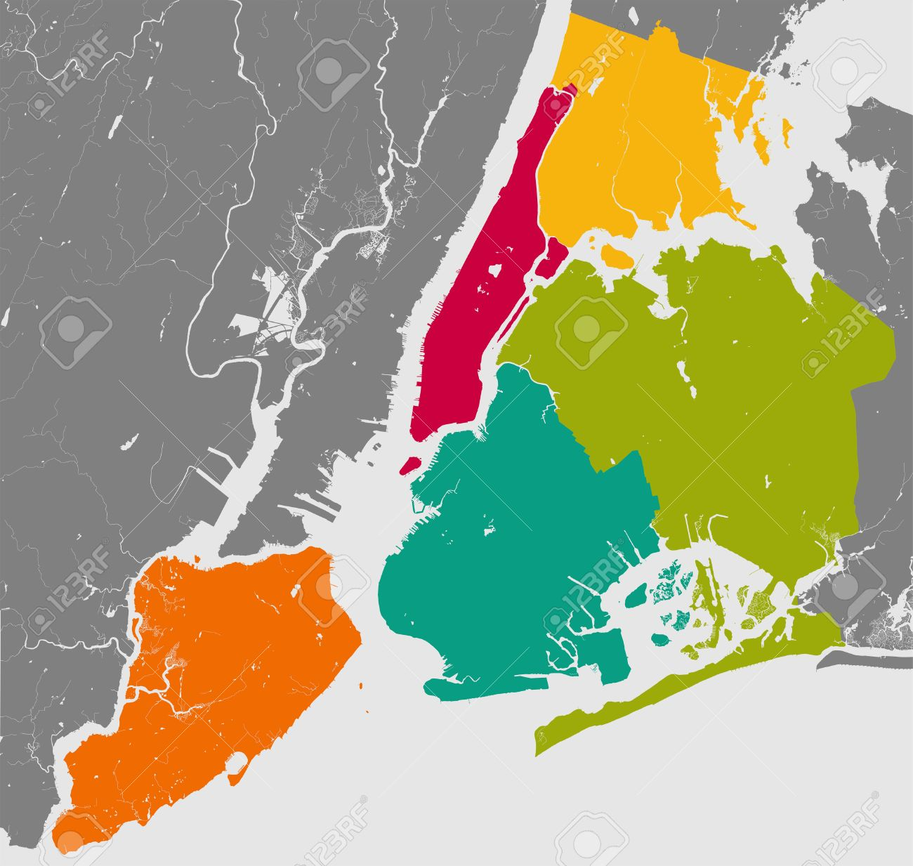 High resolution outline map of New York City with NYC boroughs...