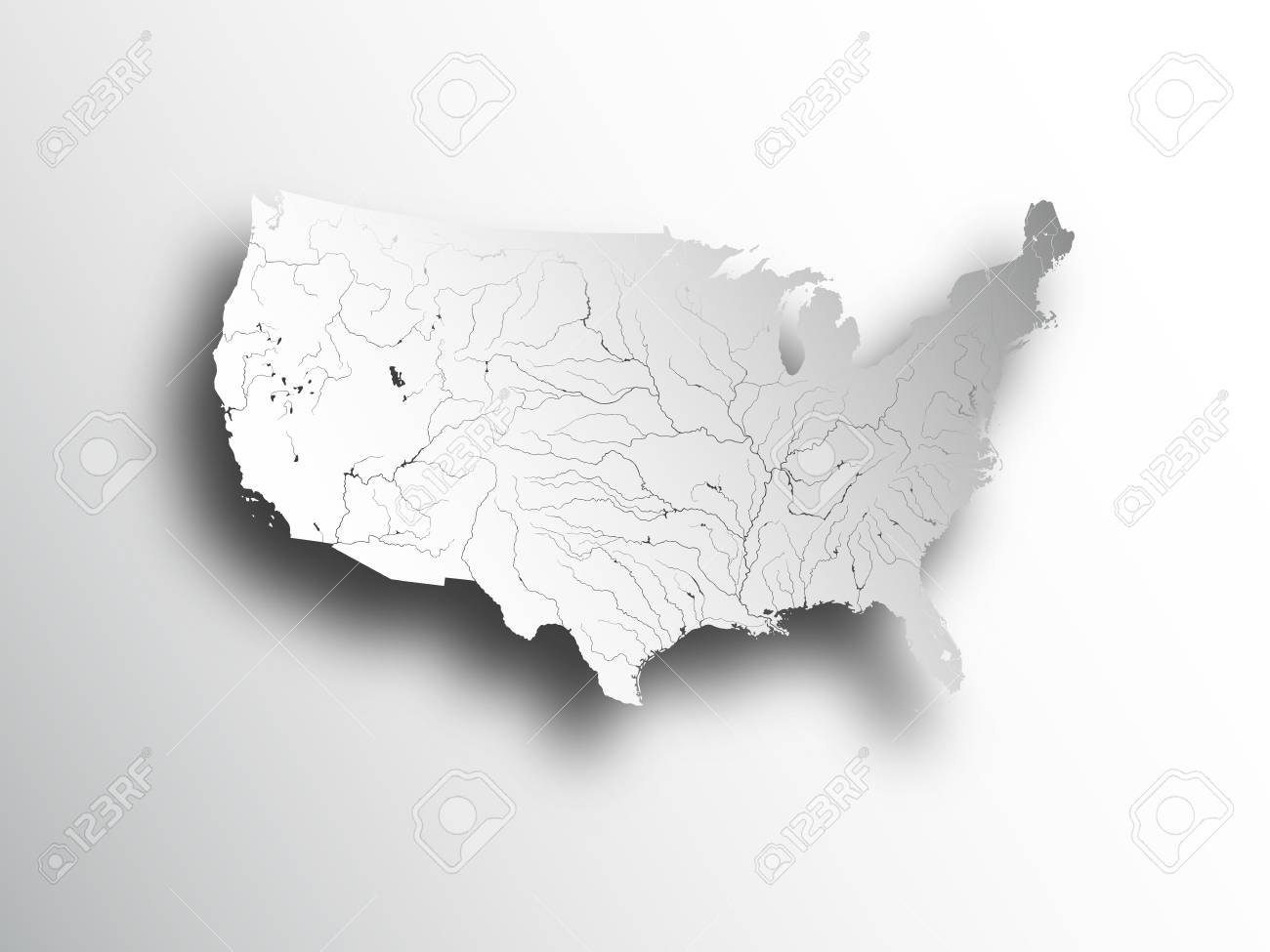 High Res Us Map.High Resolution Map Of The Usa Royalty Free Cliparts Vectors And