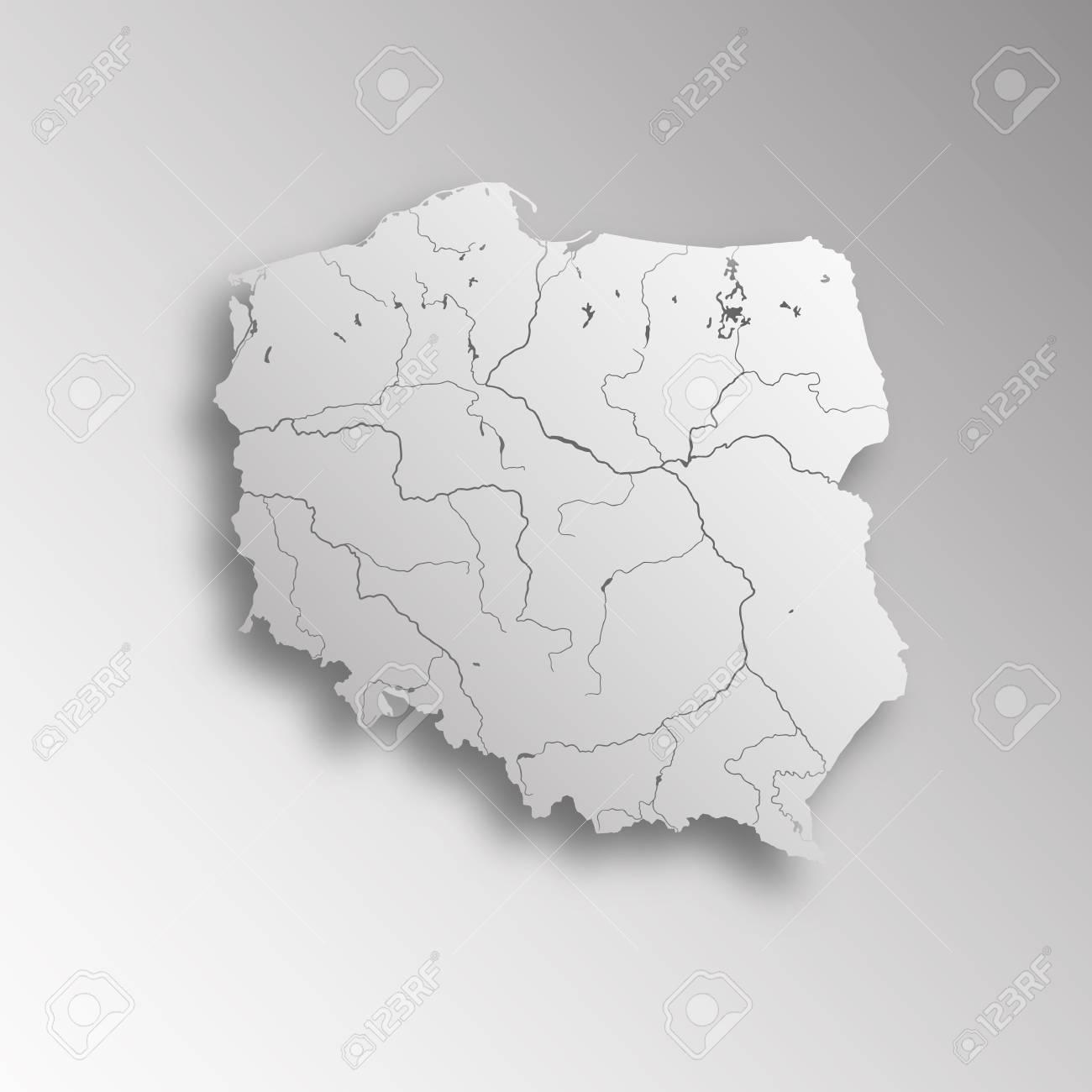Sehr Detaillierte Karte Von Polen Mit Papier Schneiden Wirkung