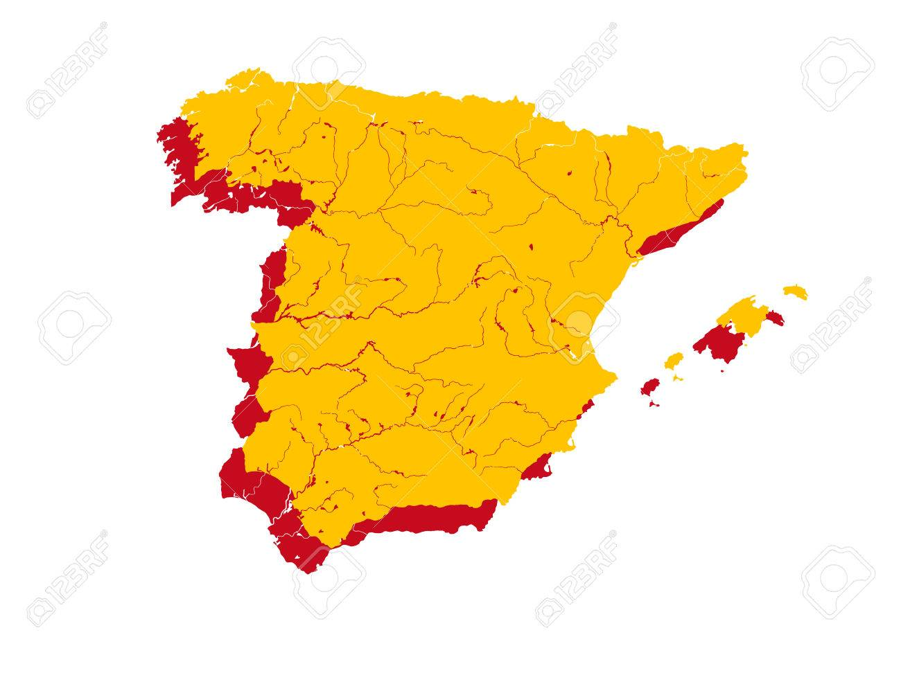 Map Of Spain Rivers.Map Of Spain In Colors Of The Spanish Flag Colors Of Flag Are