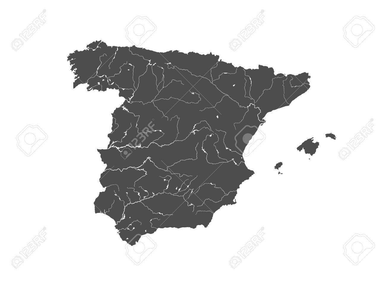 Map Of Spain Rivers.Map Of Spain With Rivers