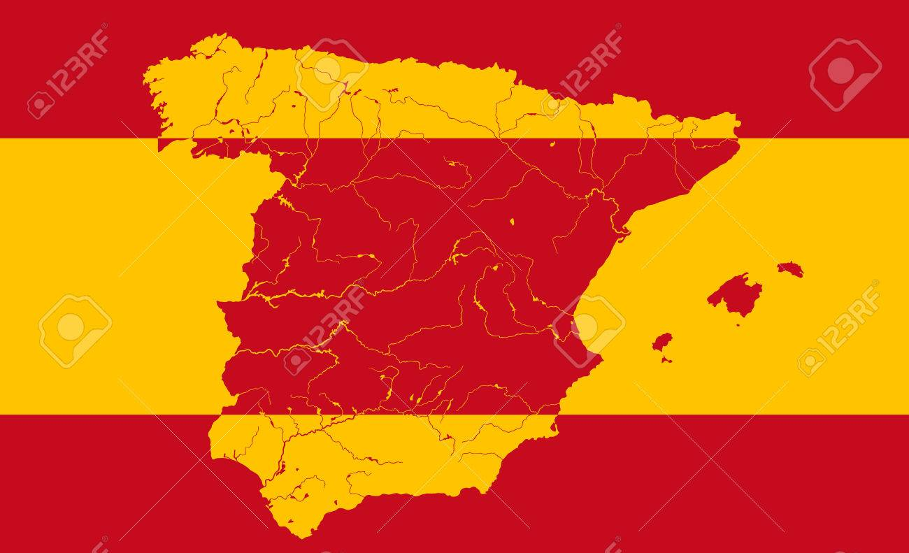 Spanish Map Of Spain.Map Of Spain In Colors Of The Spanish Flag Colors Of Flag Are