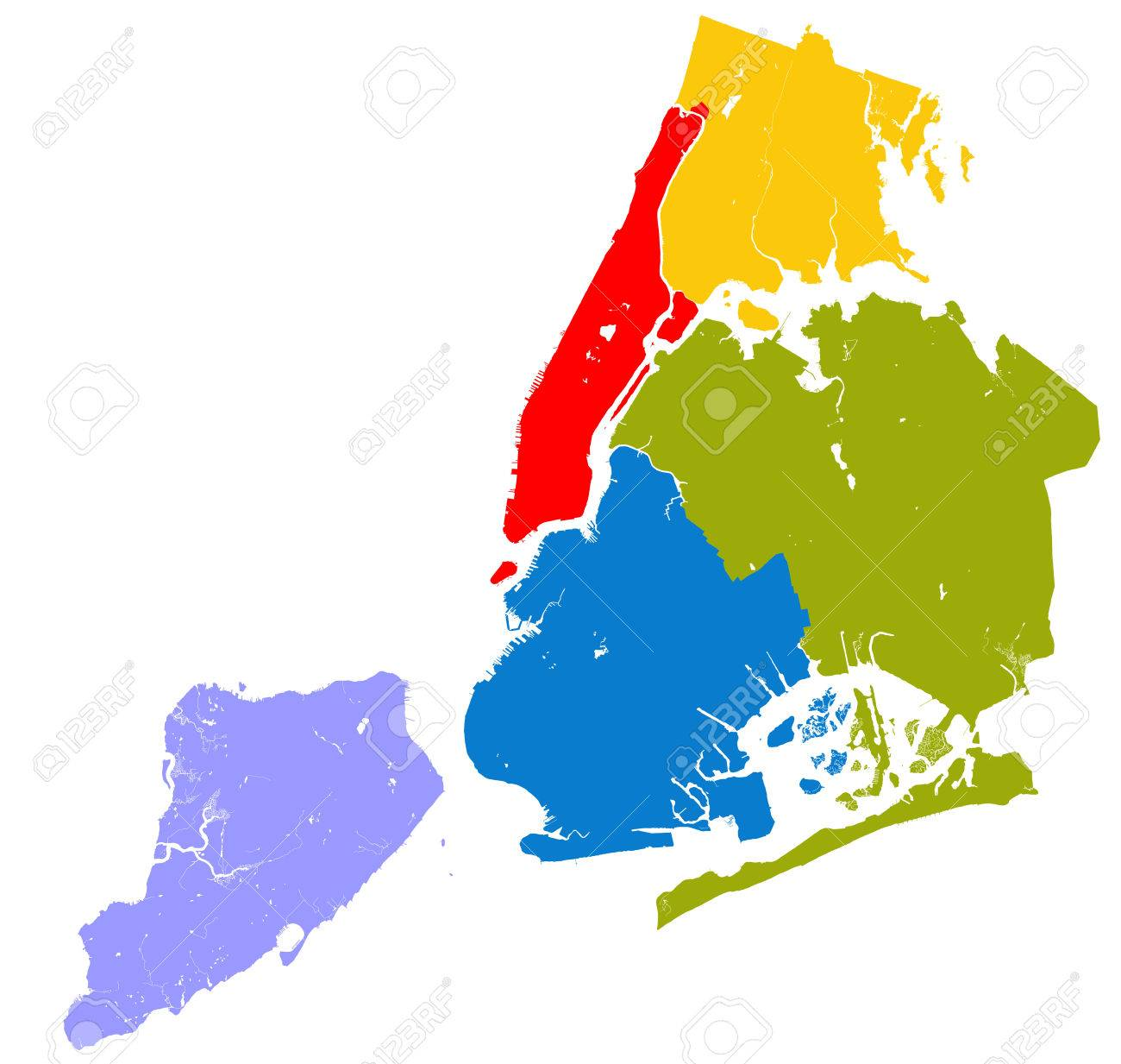 High Resolution Outline Map Of New York City With Nyc Boroughs