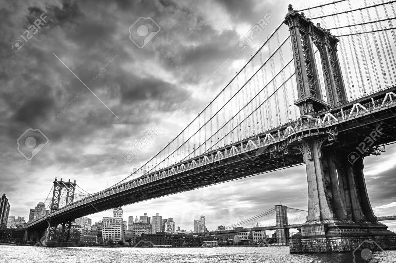 View of two bridges on the east river black and white hdr image