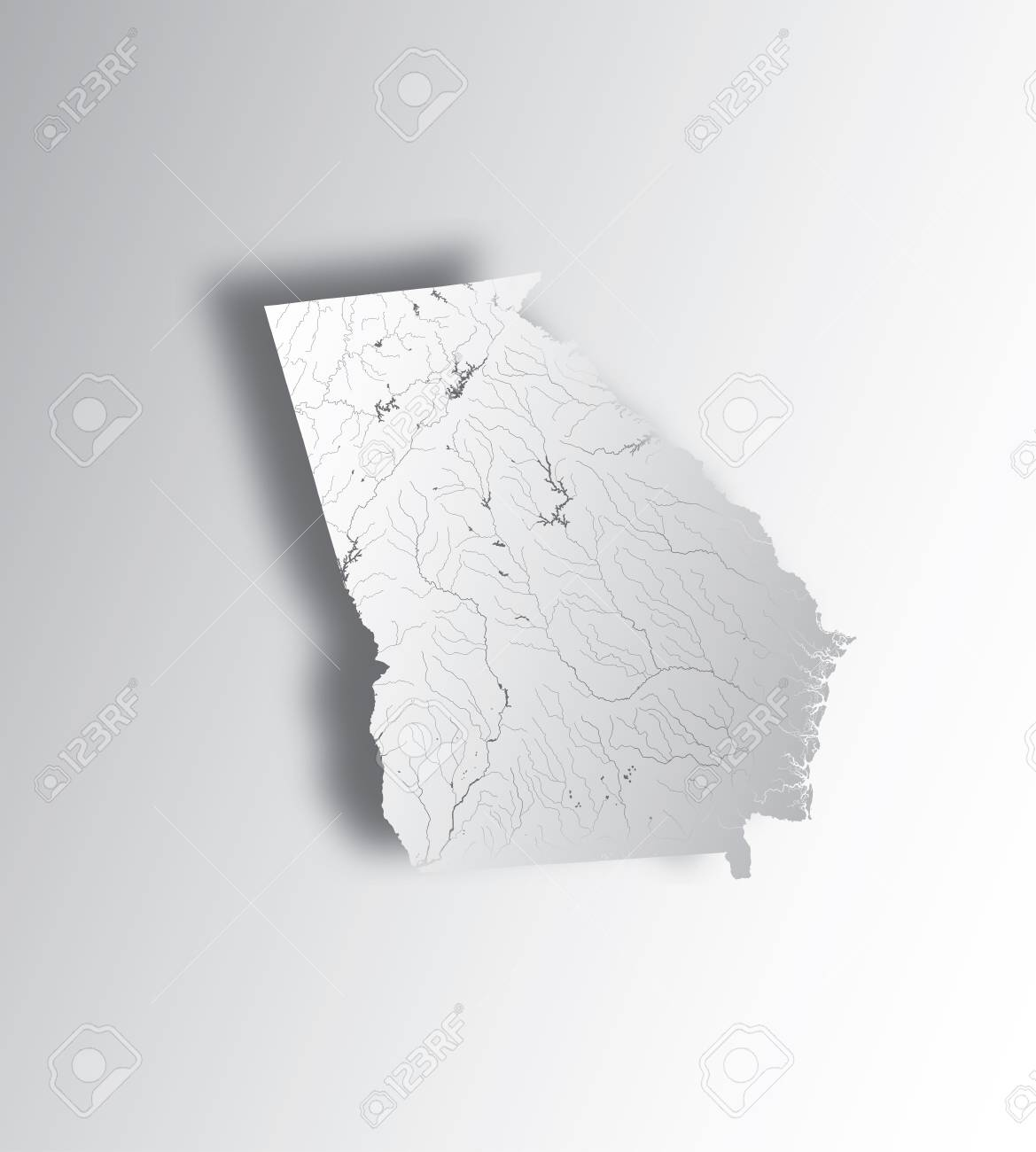 Map Of Georgia Rivers And Lakes.U S States Map Of Georgia State With Paper Cut Effect Hand