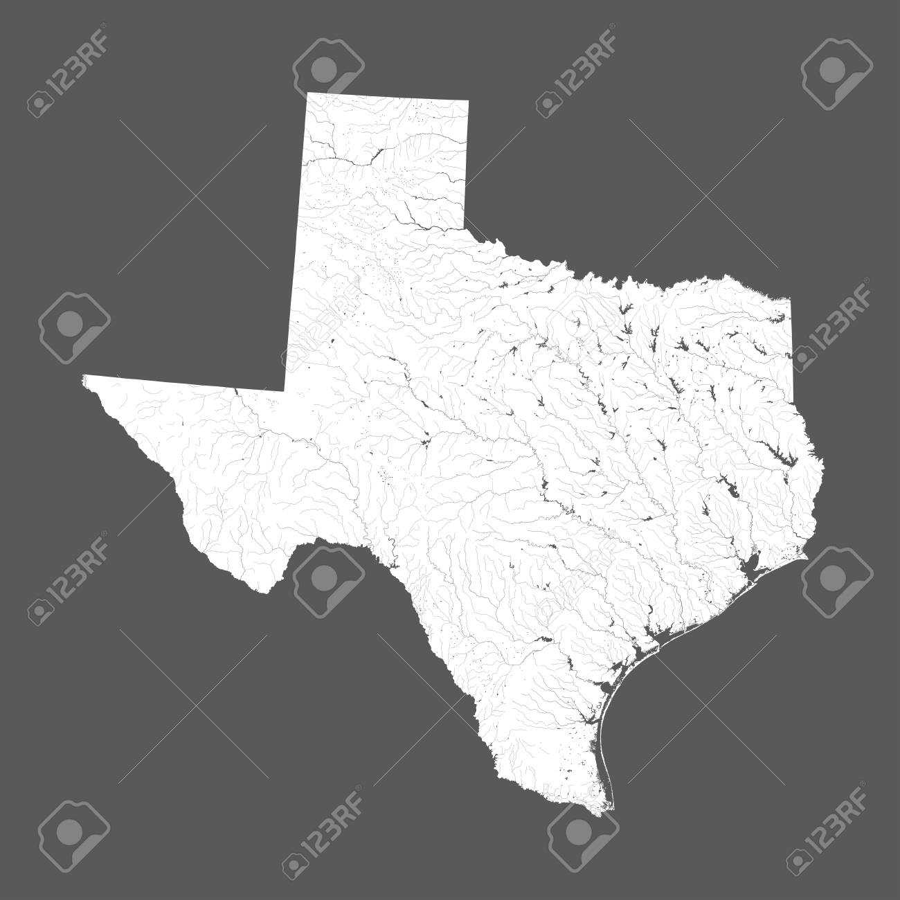 Map Of Texas Us.U S States Map Of Texas Hand Made Rivers And Lakes Are Shown