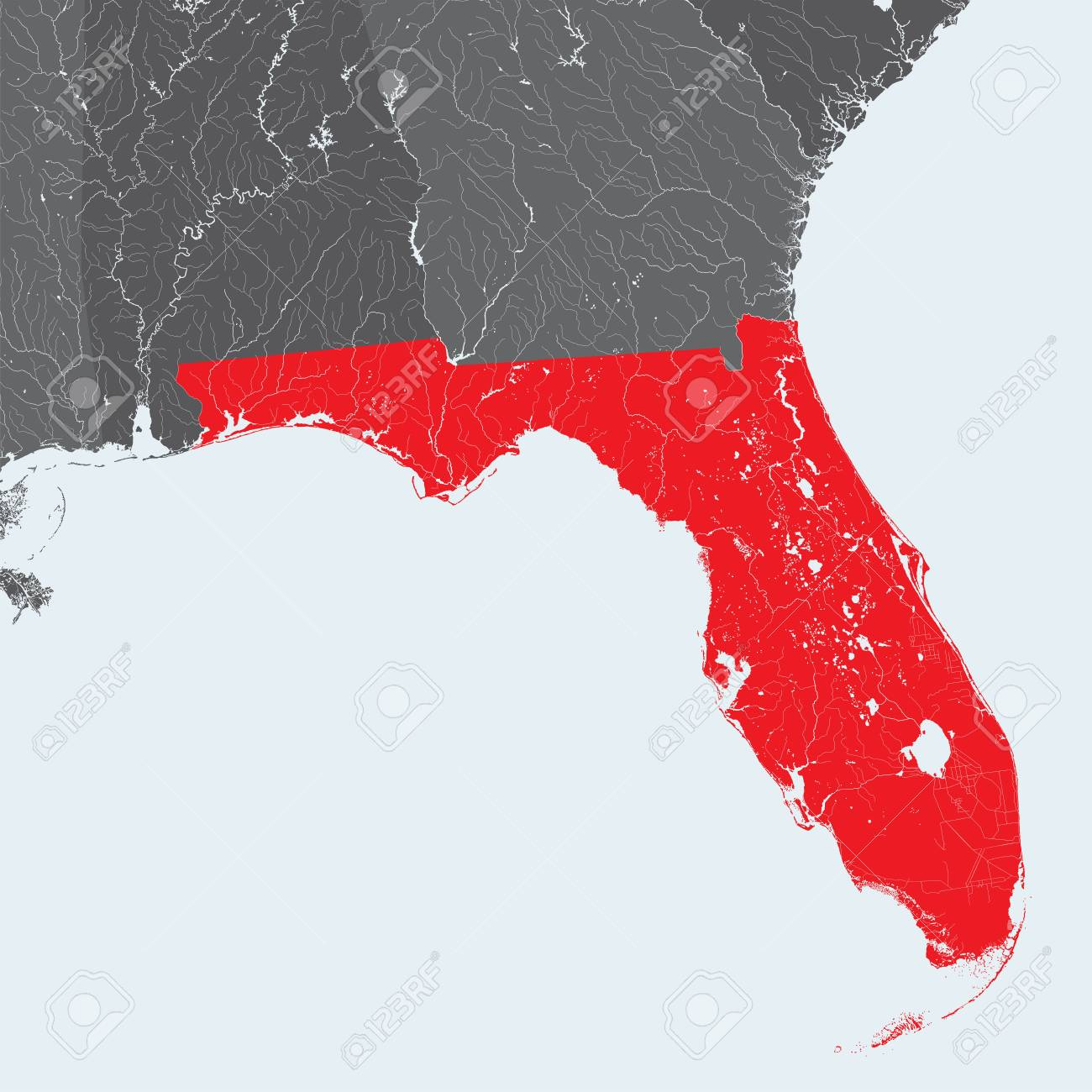 U S States Map Of Florida Hand Made Rivers And Lakes Are