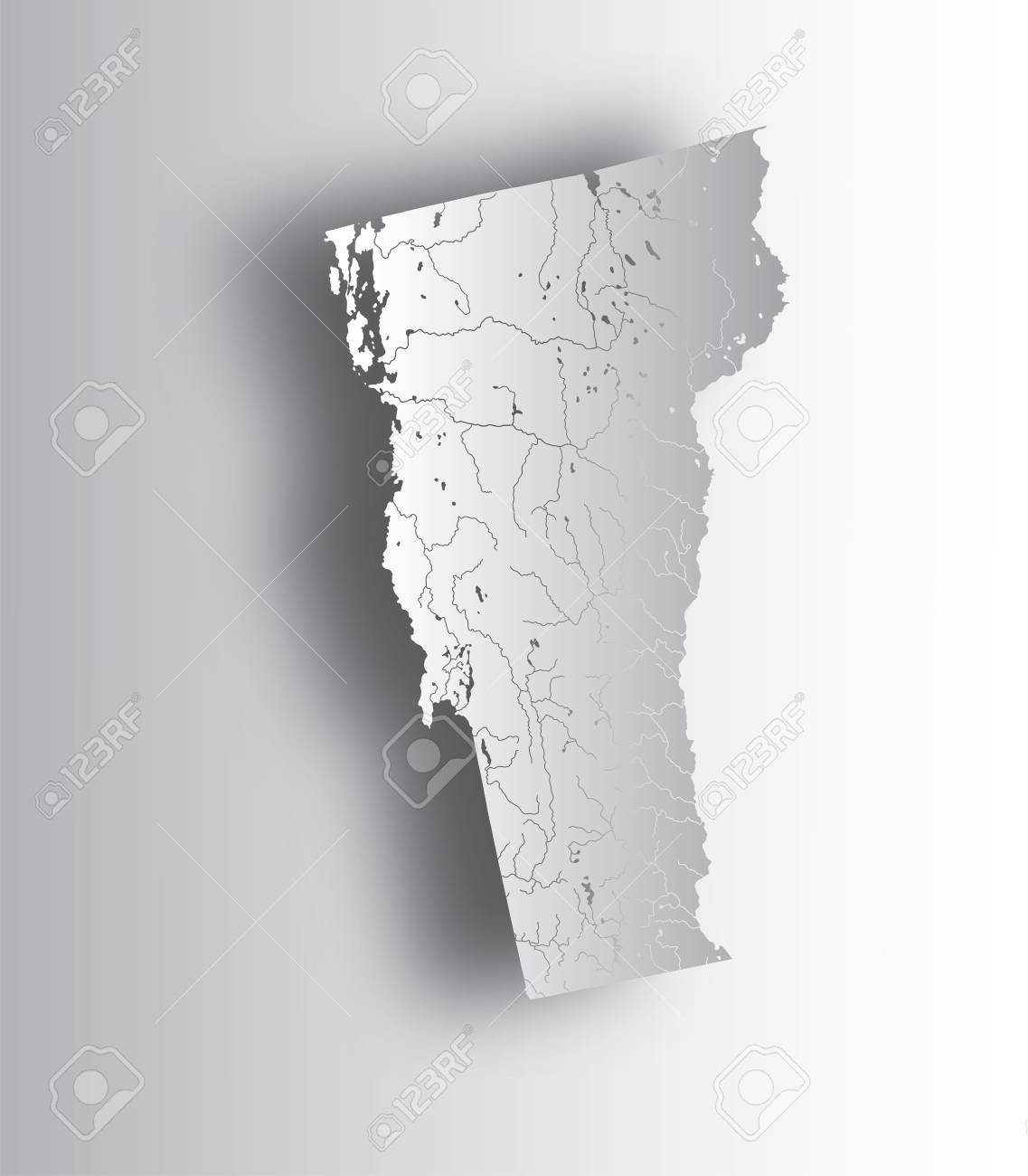 U.S. states - map of Vermont with paper cut effect. Hand made...