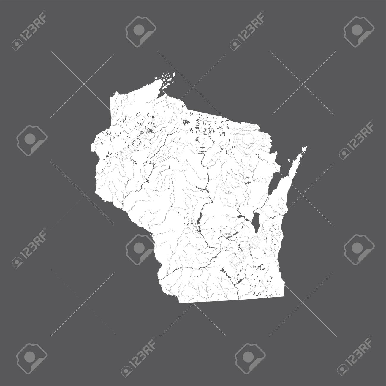 Us States Map Of Wisconsin Hand Made Rivers And Lakes Are - Map-of-the-us-rivers-and-lakes