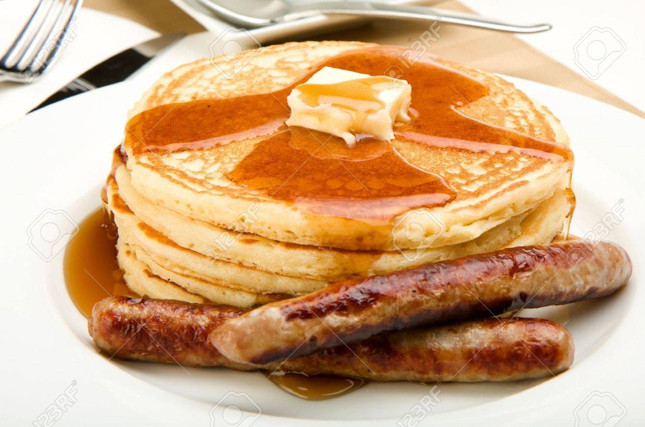 Breakfast Of Coffee Pancakes And Sausage Stock Photo Picture And