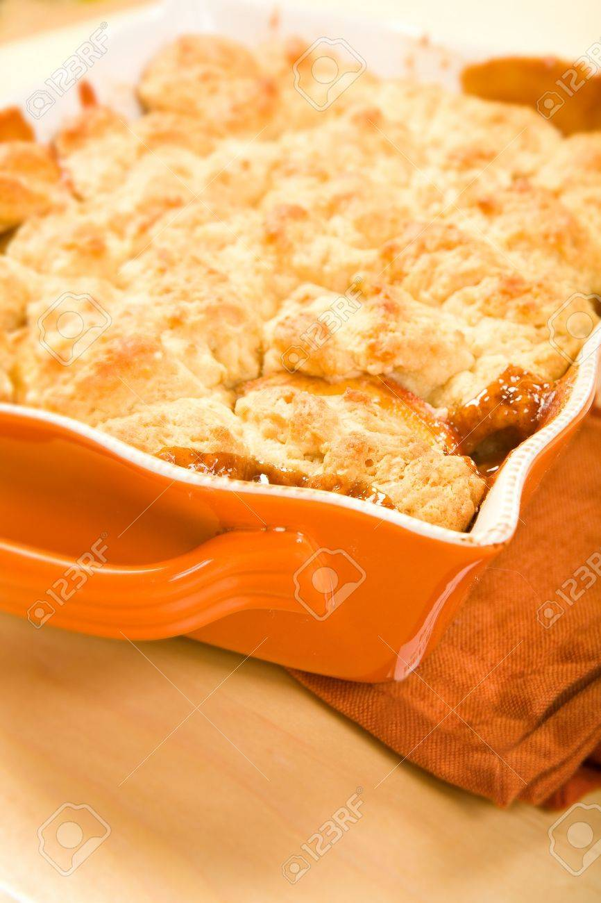 Pan of Peach cobbler fresh from the oven Stock Photo - 5454321